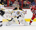 Boston Bruins Anton Khudobin (35) during a game against the Carolina Hurricanes on January 28, 2013 at PNC Arena in Charlotte, NC. The Bruins beat the Hurricanes 5-3.