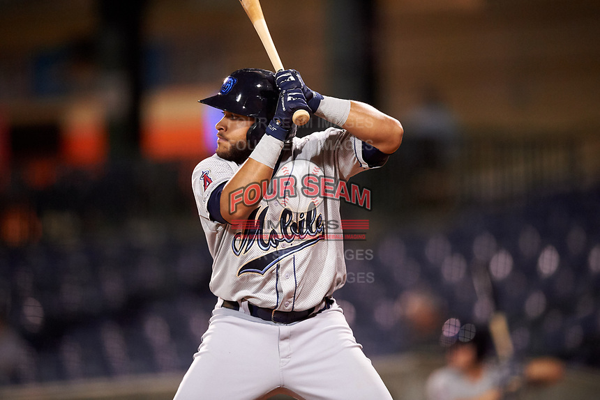 Mobile BayBears designated hitter Jose Rojas (25) at bat during a game against the Mississippi Braves on May 7, 2018 at Trustmark Park in Pearl, Mississippi.  Mobile defeated Mississippi 5-0.  (Mike Janes/Four Seam Images)