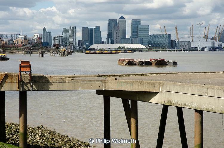 Canary Wharf and Barclays, HSBC and Citi bank buildings on the Isle of Dogs, seen from the south bank of the river Thames.