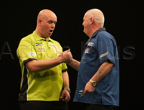 07.04.2016. The Sheffield Arena, Sheffield, England. Betway PDC Premier League Darts. Night 10.  Robert Thornton [SCO] congratulates Michael van Gerwen [NED] after their match