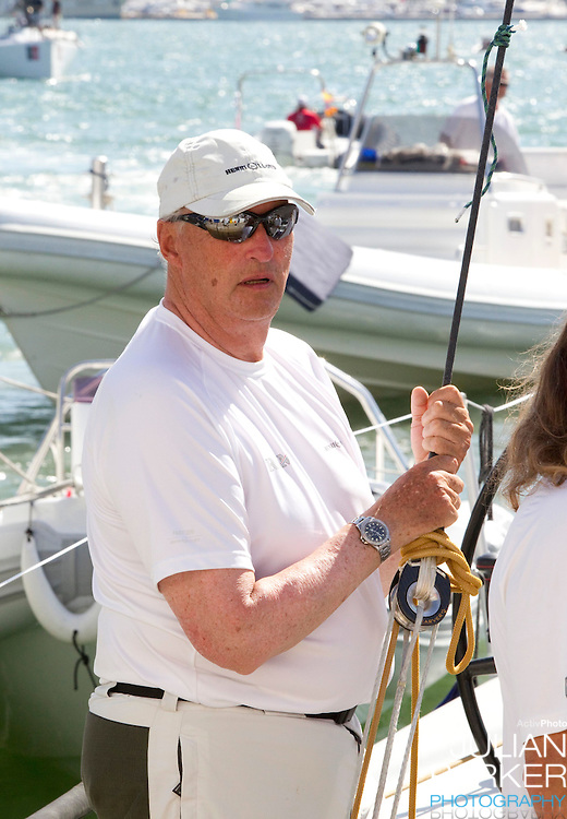 King Harald of Norway, at The Royal Yacht Club, in Palma, Mallorca..after competing in the first day of the Copa Del Rey sailing regatta
