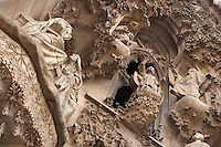 The Virgin visiting her cousin Elisabeth; Jesus proclaiming himself son of God, Faith hallway, Nativity façade, La Sagrada Familia, Barcelona, Catalonia, Spain, Roman Catholic basilica, built by Antoni Gaudí (Reus 1852 ? Barcelona 1926) from 1883 to his death. Still incomplete. Picture by Manuel Cohen