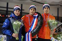 SHORTTRACK: AMSTERDAM: Jaap Edenhal, 04-01-2015, KPN NK Shorttrack, Podium Junioren A Jongens, Tjerk de Boer, Leon Bloemhof, Dylan Hoogerwerf, ©foto Martin de Jong