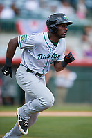 Daytona Tortugas left fielder Taylor Trammell (5) runs to first base during a game against the Florida Fire Frogs on April 8, 2018 at Osceola County Stadium in Kissimmee, Florida.  Daytona defeated Florida 2-1.  (Mike Janes/Four Seam Images)