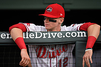 Designated hitter Brett Netzer (12) of the Greenville Drive prior to a game against the Asheville Tourists on Wednesday, August 2, 2017, at Fluor Field at the West End in Greenville, South Carolina. Greenville won, 1-0. (Tom Priddy/Four Seam Images)