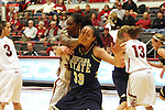 Ebonee Coates (#34), Washington State senior center, denies the entry pass down low during the Cougars game against Montana State in Pullman, Washington, on November 23, 2008.  The Cougars prevailed in the contest, 78-66.