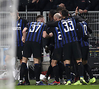 Football: UEFA Champions League -Group Stage - Group B - FC Internazionale Milano vs PSV Eindhoven, Giuseppe Meazza  (San Siro) Stadium, Milan Italy, December 11, 2018.<br /> Inter Milan's Captain Mauro Icardi celebrates after scoring during the Uefa Champions League football match between Inter Milan and PSV Eindhoven at Giuseppe Meazza  (San Siro) Stadium in Milan on December 11, 2018. <br /> UPDATE IMAGES PRESS/Isabella Bonotto