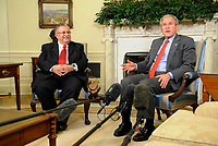 Washington, DC - June 25, 2008 -- United States President George W. Bush, with the President of Iraq Jalal Talabani, makes comments to the news media after a meeting in the Oval Office of the White House in Washington, D.C. USA 25 June 2008. A roadside bombing killed three U.S. soldiers yesterday in northern Iraq, bringing the number of American troop deaths this week in the country to seven.<br /> CAP/MPI/CNP/RS<br /> &copy;RS/CNP/MPI/Capital Pictures