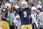 Oct. 10, 2015; Irish linebacker Jaylon Smith (9) celebrates a fumble recovery in the third quarter against Navy. Notre Dame won 41-24. (Photo by Matt Cashore)