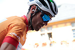 Race leader World Champion Alejandro Valverde (ESP) Movistar Team at sign on before Stage 3 of the Route d'Occitanie 2019, running 173km from Arreau to Luchon-Hospice de France, France. 22nd June 2019<br /> Picture: Colin Flockton | Cyclefile<br /> All photos usage must carry mandatory copyright credit (© Cyclefile | Colin Flockton)