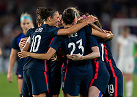 ORLANDO, FL - MARCH 05: Christen Press #23 and Carli Lloyd #10 of the United States celebrate during a game between England and USWNT at Exploria Stadium on March 05, 2020 in Orlando, Florida.