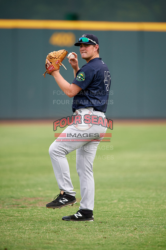 Pulaski Yankees pitcher Austin Gardner (47) warms up before a game against the Greeneville Reds on July 27, 2018 at Pioneer Park in Tusculum, Tennessee.  Greeneville defeated Pulaski 3-2.  (Mike Janes/Four Seam Images)