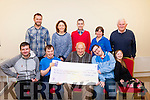 Bing Goooooo<br /> -------------------<br /> Jerry O'Mahony, chairman of the Castleisland community centre gladly giving a cheque for 2500 euro to members of St John of god,based in Tralee IT south campus after a bingo night held in the centre. (front) L-R Martin Murphy, Maurice Flavin,Jerry O'Mahony, Paul Scanlon,with Amy Lynch (back) L-R Phillip McSweeney,Maeve Ryan ( instructor, St John of God, Kerry services ) Thomas Fitzmaurice,Theresa Ann O'Mahony (community centre manager) with Mike Broderick ( vice chairman community centre) .
