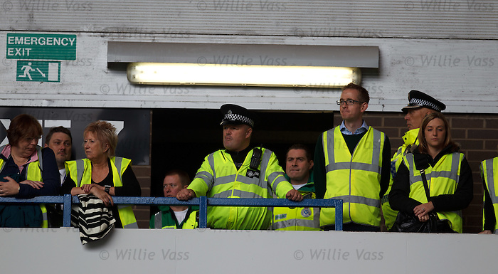 Christine Grahame MSP and the Holyrood justic committee watch the Old Firm game from the corner between the Rangers and Celtic fans