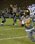 Galena quarterback #17 Derek Kline throws to wide receiver #45 Mateo Lemus during their Northern Division I playoff football game against McQueen  played on Friday night, November 6, 2015 at Galena High School in Reno, Nevada.