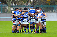 The Wanganui team hiuddles before the Mitre 10 Heartland Championship rugby union match between Horowhenua Kapiti and Wanganui at Levin Domain in Levin, New Zealand on Saturday, 7 October 2017. Photo: Dave Lintott / lintottphoto.co.nz