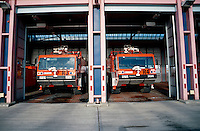 Airport Fire Appliances parked inside their bays. This image may only be used to portray the subject in a positive manner..©shoutpictures.com..john@shoutpictures.com