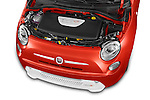 Car Stock 2014 Fiat 500e 3 Door Hatchback Engine high angle detail view