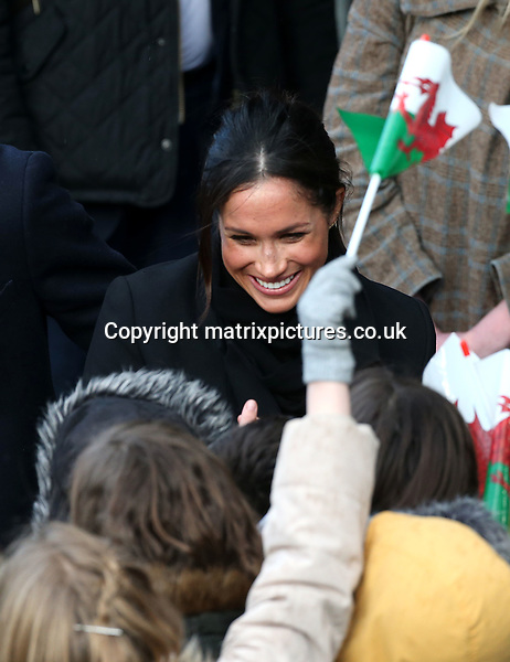 NON EXCLUSIVE PICTURE: MATRIXPICTURES.CO.UK<br /> PLEASE CREDIT ALL USES<br /> <br /> WORLD RIGHTS<br /> <br /> Prince Harry and Meghan. Markle are pictured on a visit to Cardiff Castle in Cardiff, Wales an iconic building with a history dating back 2,000 years.<br /> <br /> The castle's architecturally rich Gothic Revival interiors will be put to use as the backdrop for a Welsh Culture festival. During their tour, Prince Harry and Ms. Markle will hear performances from musicians and poets, meet leading sportsmen and women, and see how organisations are working to promote Welsh language and cultural identity.<br /> <br /> JANUARY 18th 2018<br /> <br /> REF: DMD 1888