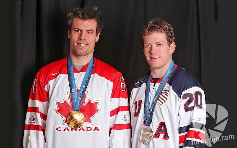 NASHVILLE, TN - MARCH 2:   of the Nashville Predators poses with his olympic medal prior to a game against the Edmonton Oilers on March 2, 2010 at the Bridgestone Arena in Nashville, Tennessee.(Photo by Frederick Breedon/NHLI via Getty Images)