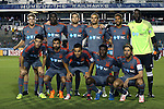 28 September 2016: Carolina starters. Front row (from left): Drew Beckie (CAN), Austin da Luz, Omar Bravo (MEX), Kareem Moses (TRI), Nazmi Albadawi. Back row (from left): Connor Tobin (13), James Marcelin (HAI), Mickey Daly, Matt Fondy, Matt Watson (ENG), Brian Sylvestre. The Carolina RailHawks hosted the New York Cosmos at WakeMed Soccer Park in Cary, North Carolina in a 2016 North American Soccer League Fall Season match. The Cosmos won the game 2-0.