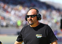Apr 12, 2015; Las Vegas, NV, USA; NHRA top alcohol dragster crew chief Adam Rhoades during the Summitracing.com Nationals at The Strip at Las Vegas Motor Speedway. Mandatory Credit: Mark J. Rebilas-