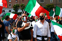 First national demonstration of the tricolor face masks, a right movement born during the lockdown due to the Coronavirus, against, they say, the sanitary dictatorship of the Government. Rome (Italy), June 20th 2020<br /> Samantha Zucchi Insidefoto