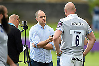 Matt Garvey of Bath Rugby is interviewed by Dan Evans after the match. Pre-season friendly match, between Bristol Rugby and Bath Rugby on August 12, 2017 at the Cribbs Causeway Ground in Bristol, England. Photo by: Patrick Khachfe / Onside Images