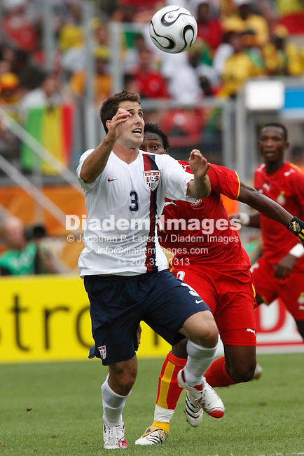 NUREMBERG, GERMANY - JUNE 22:  Carlos Bocanegra of the United States eyes the ball during a 2006 FIFA World Cup soccer match against Ghana June 22, 2006 in Nuremberg, Germany.  (Photograph by Jonathan P. Larsen)
