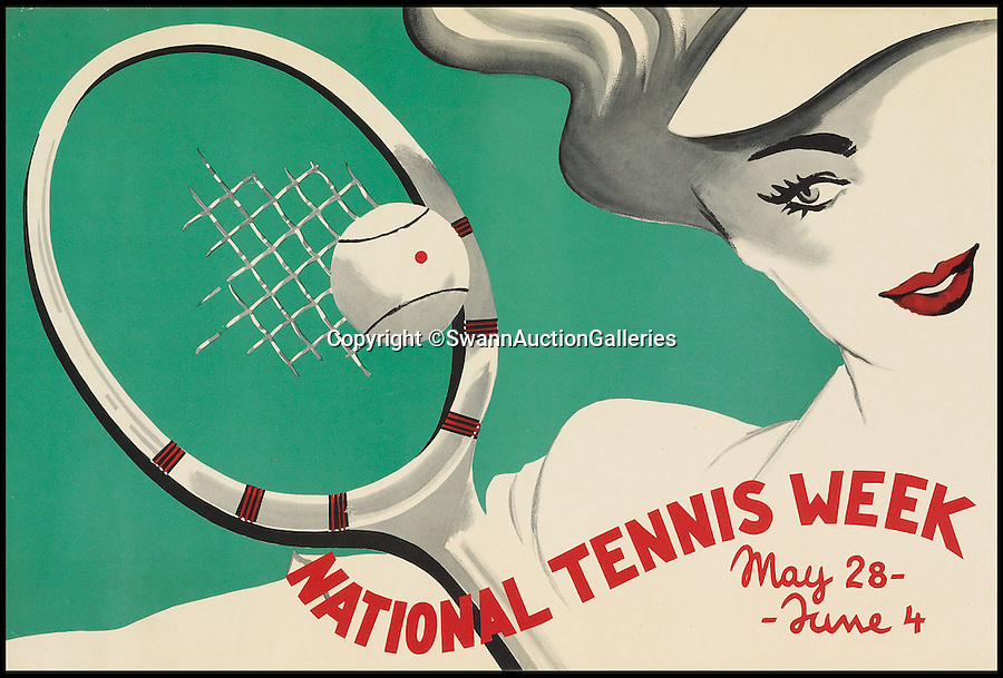 BNPS.co.uk (01202 558833)<br /> Pic: SwannAuctionGalleries/BNPS<br /> <br /> ***Please Use Full Byline***<br /> <br /> National Tennis Week, designer and date unknown. Estimated at, $700 - $1,000. <br /> <br /> <br /> The world's largest collection of vintage tennis posters spanning a century of the sport has emerged for sale for a staggering 100,000 pounds.<br /> <br /> The posters date from the late 19th century and advertise everything from famous tennis tournaments to luxury holiday destinations and even cars.<br /> <br /> The earliest poster in the collection comes from 1896 and advertises the Western Lawn Tennis Tournament at the Kenwood Country Club in Chicago.<br /> <br /> The collection was compiled by an Australian poster enthusiast over several decades and is thought to be the largest ever to come to auction.<br /> <br /> The posters will be sold individually for prices ranging between 150 pounds to 12,000 pounds and are collectively tipped to fetch a whopping 100,000 pounds in the Swann Auction Galleries sale.