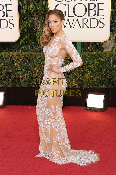Jennifer Lopez.Arrivals at the 70th Annual Golden Globe Awards held at the Beverly Hilton Hotel, Hollywood, California, USA..January 13th, 2013.globes full length white lace dress hand on hip side .CAP/GAG.©GAG/Capital Pictures