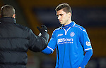 St Johnstone v Livingston.....30.11.13     Scottish Cup 4th Round<br /> Sanil Jahic gets a well done at full time from Stevie Banks<br /> Picture by Graeme Hart.<br /> Copyright Perthshire Picture Agency<br /> Tel: 01738 623350  Mobile: 07990 594431