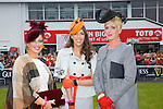 Best Dressed lady finalists Grainne Grebal, Tyrone, Elaine Moriarty, Killarney, and Mary Houlihan,  at the Listowel Races on Friday