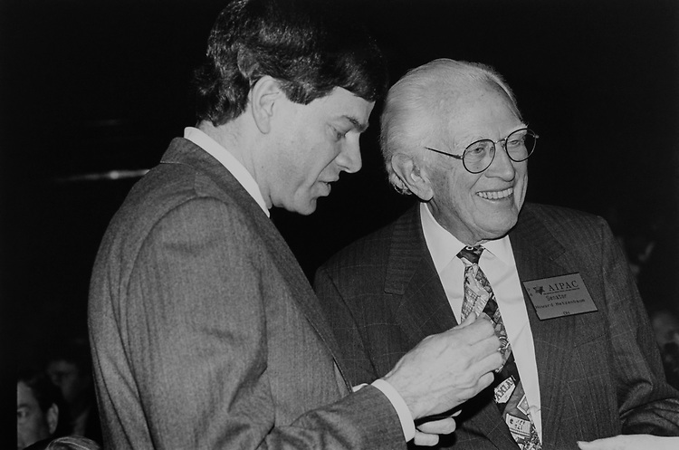 Senate Candidate Joel Hyatt and Sen. Howard Metzenbaum, D-Ohio at the American Israel Public Affairs Committee dinner, on March 16, 1994. (Photo by Laura Patterson/CQ Roll Call via Getty Images)