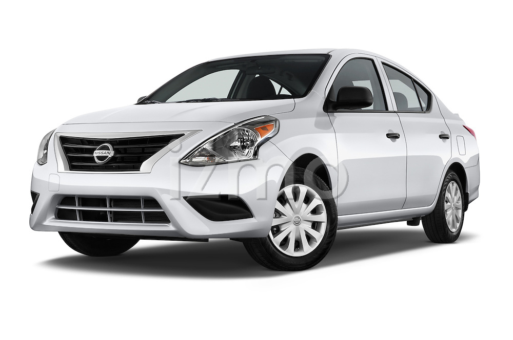Stock pictures of low aggressive front three quarter view of a 2015 Nissan Versa 1.6 Sv Cvt 4 Door Sedan