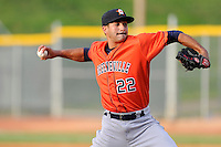 Pitcher Jorge Perez (22) of the Greeneville Astros delivers a pitch in a game against the Bristol Pirates on Saturday, July 26, 2014, at DeVault Memorial Stadium in Bristol, Virginia. Greeneville won, 2-1 in Game 1 of a doubleheader. (Tom Priddy/Four Seam Images)