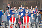 The pupils of Dingle Boys National School who were confirmed on Friday in St Mary's Church, Dingle by Bishop Bill Murphy. Pictured here with Fr Eugene Kelly, Bishop Bill Murphy and Canon Tom Looney.   Copyright Kerry's Eye 2008