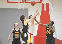 The Occidental College men's basketball team plays against Claremont-Mudd-Scripps in the SCIAC Semi Final game on Friday, January 22, 2019 in Claremont.<br /> Oxy won, 64-62 in overtime and will go on to the final championship against Pomona-Pitzer on Saturday.<br /> (Photo by John Valenzuela, Freelance Photographer)