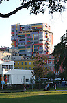 Tirana/Tirane-Albania - August 01, 2004---Modern architecture of a building with apartments, in the center of Tirana, capital city of Albania; culture-infrastructure---Photo: © HorstWagner.eu