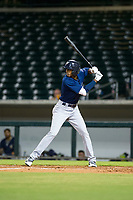 AZL Brewers right fielder Je'Von Ward (8) bats during a game against the AZL Cubs on August 6, 2017 at Sloan Park in Mesa, Arizona. AZL Cubs defeated the AZL Brewers 8-7. (Zachary Lucy/Four Seam Images)