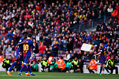 18th March 2018, Camp Nou, Barcelona, Spain; La Liga football, Barcelona versus Athletic Bilbao; Leo Messi of FC Barcelona salutes Ousmane Dembélé of FC Barcelona as he is substituted in the 64th minute