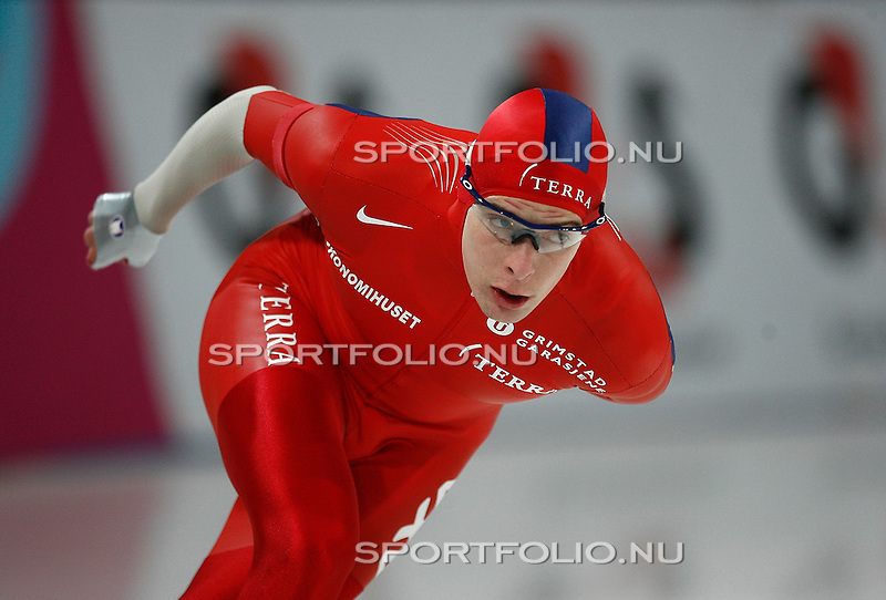 Duitsland, Berlijn, 9 februari 2008 .WK schaatsen allround 2008  .Sverre Haugli van Noorwegen in actie op de 5000 meter..