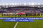 The teams line up prior to the AFC Asian Cup UAE 2019 Semi Finals match between I.R. Iran (IRN) and Japan (JPN) at Hazza Bin Zayed Stadium  on 01 January 2014 in Al Alin, United Arab Emirates. Photo by Marcio Rodrigo Machado / Power Sport Images