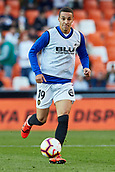 17th March 2019, Mestalla Stadium, Valencia, Spain; La Liga football, Valencia versus Getafe; Rodrigo Moreno of Valencia CF warms up prior to the game