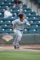 Steven Kwan (1) of the Lynchburg Hillcats starts down the first base line against the Winston-Salem Dash at BB&T Ballpark on May 9, 2019 in Winston-Salem, North Carolina. The Dash defeated the Hillcats 4-1. (Brian Westerholt/Four Seam Images)