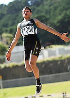 Manawatu's Andy Kruy competes in the men's under-19 long jump during day two of the National athletics championships at Newtown Park, Wellington, New Zealand on Saturday, 28 March 2009. Photo: Dave Lintott / lintottphoto.co.nz