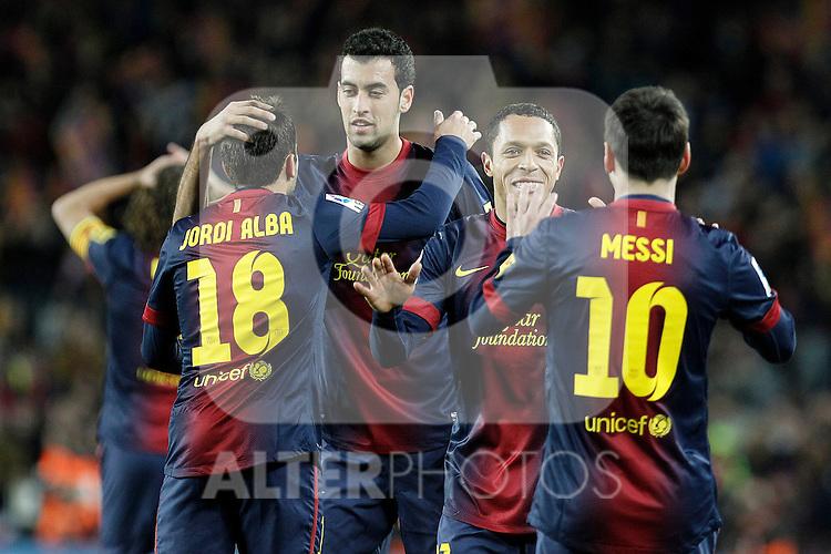 FC Barcelona's Jordi Alba, Sergio Busquets, Adriano Correia and Leo Messi celebrate goal during La Liga match.December 16,2012. (ALTERPHOTOS/Acero)