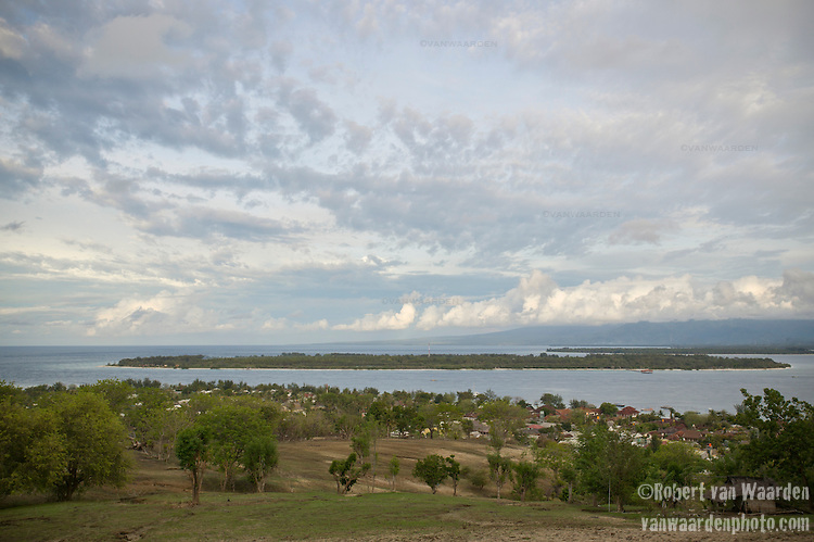 View of Gili Trawangan, Lombok, Indonesia, as seen from the hill in the middle of the island.