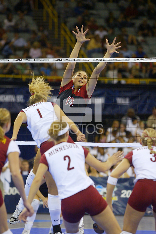 18 December 2004: Stanford Cardinal Liz Suiter during Stanford's  30-23, 30-27, 30-21 victory over Minnesota in the 2004 NCAA Women's Volleyball National Championships in Long Beach, CA. Stanford won their sixth women's volleyball title in school history.<br />