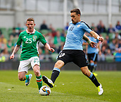 June 4th 2017, Aviva Stadium, Dublin, Ireland; International football friendly, Republic of Ireland versus Uruguay; Sebastian Coates (Uruguay) gets to the ball ahead of Jonny Hayes (Republic of Ireland)